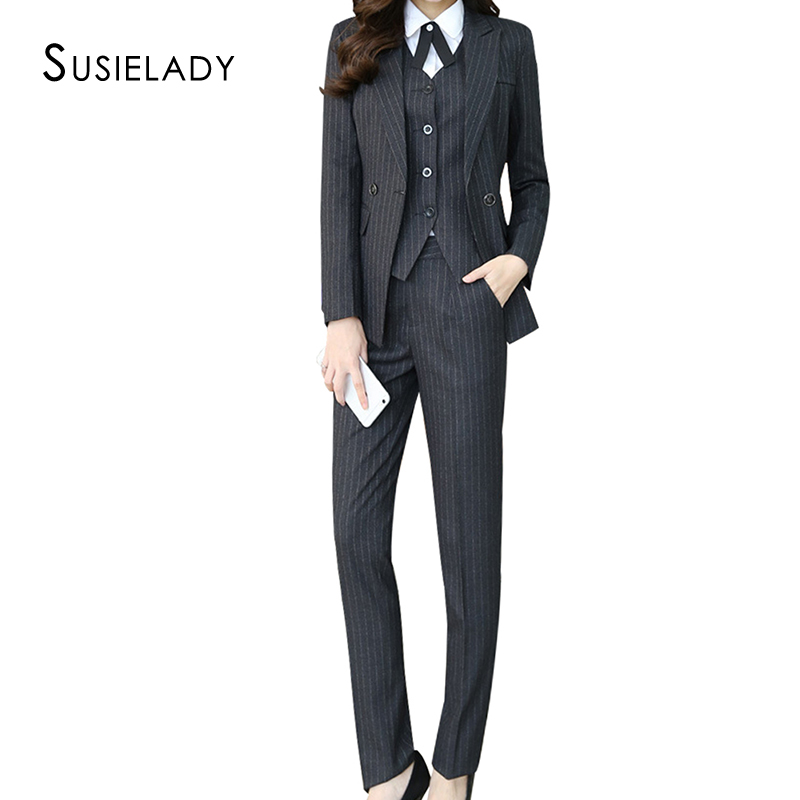 SUSIELADY Women Blazer Suits Stripe Business Suit Set Blazer Jacket,Vest&Pant/Skirt Suits For Women Office Interview Suit