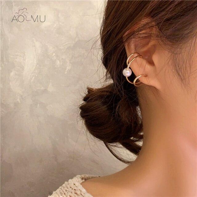 AOMU Korea Design Metal Gold Geometric Irregular Circle Square Natural Freshwater Pearl Stud Earrings for Women Girl Gift 2