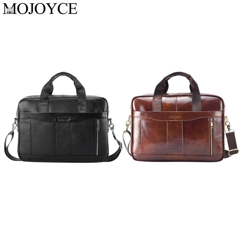 Portable Pure Color Genuine Leather Men Briefcase Laptop Shoulder Crossbody Bag Office Handbag Natural Leather Male Messenger