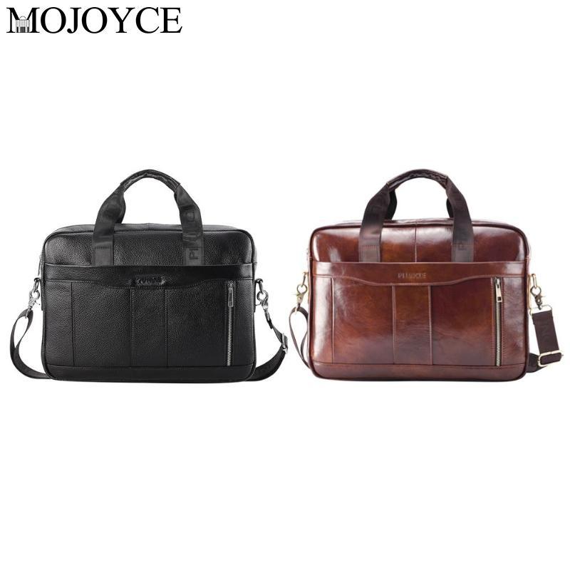 Portable Pure Color Genuine Leather Men Briefcase Laptop Shoulder Crossbody Bag Office Handbag Natural Leather Male Messenger