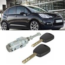 Car Front Left Door Lock Barrel for Citroen C2 C3 2002-2010 with 2 Keys 9170T9 9170W9 9170T5 256924