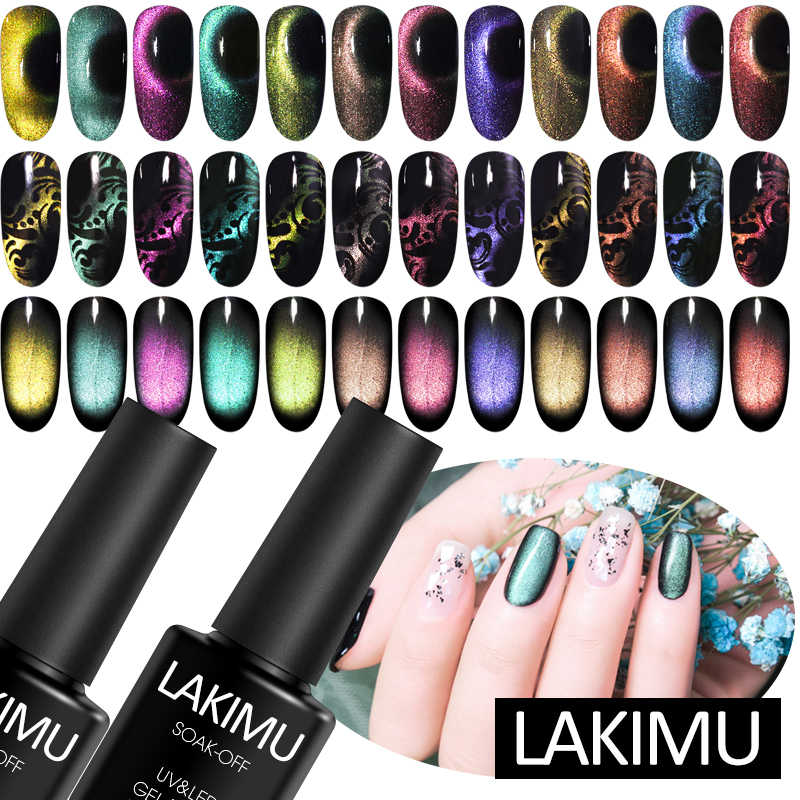 Lakimu 8 Ml 5D Chameleon Cat Eyes Nail Polish Magnetic UV LED Gel Pernis Kuku Seni Bersinar Gel Perlu Hitam base Coat Magnet Stick