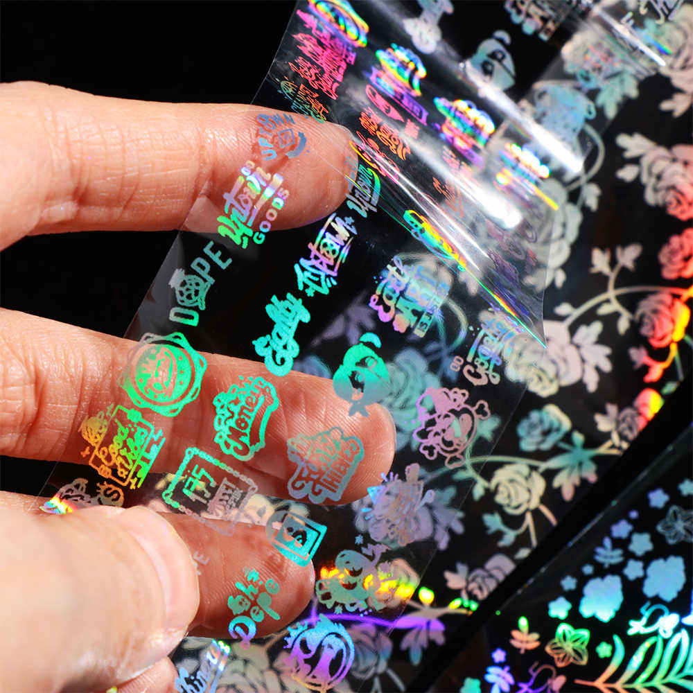 1PC Holographic NAIL Foils Starry Sky สติกเกอร์กาว Wraps Sparkle กระดาษน้ำสไลด์เลเซอร์เครื่องมือตกแต่งเล็บ