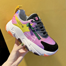 2019 New Designer Chunky Sneakers Platform Blue Breathable Mesh Women Shoes Thick Bottom Fashion Lady Casual Flat shoes