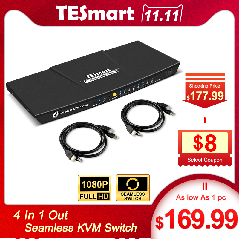 Seamless KVM Switch Multi-view 4x1HDMI Switch KVM 4 Ports Seamless KVM USB2.0 4 In 1Out Switch KVM Up To1080P@60Hz 3D