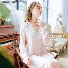 Women Fashion Blue Pink Sexy Sleepwear Long Sleeve Nightdress Long Lace V Neck Nightwear Sleepshirts Nightgown Sleepwear