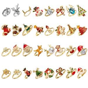 New Trendy Crystal Enamel Christmas Ring Women Delicate Xmas Tree Elk Santa Claus Snowman Bells Snowflake Finger Rings Wholesale