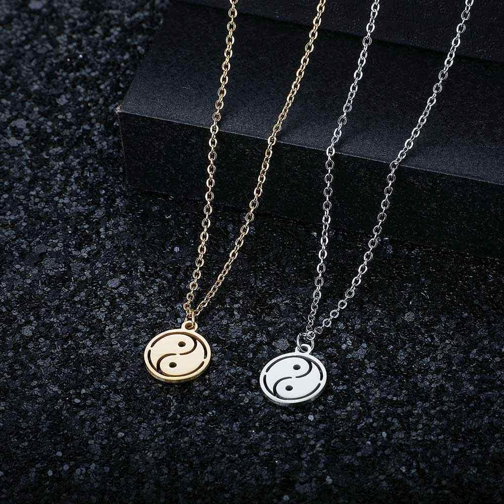 100% Acero inoxidable Yin Yang símbolo collar nunca empañar acero alto pulido chino amuleto colgante mujeres collares