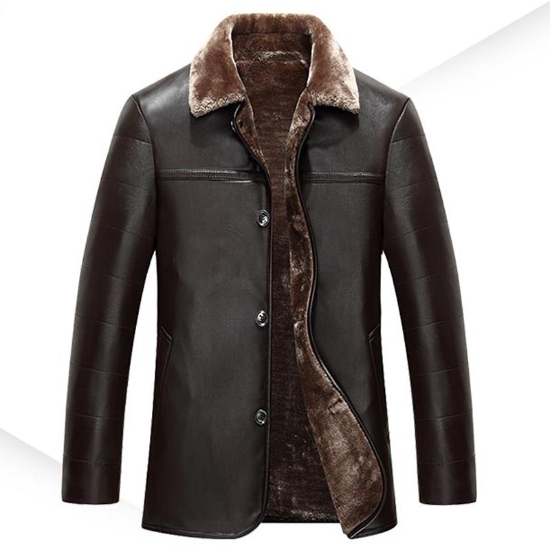 Russian Winter Mens Fur Lined Leather Coats Solid Color Man's Overcoats Brand Designer Mens Leather Clothing Velvet Outwear A108