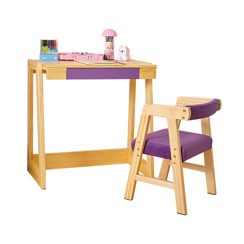 New Durable Student Desk Chair Set The Height Adjustable Children Learning Table Solid Wood Furniture Set Multicolor Optional