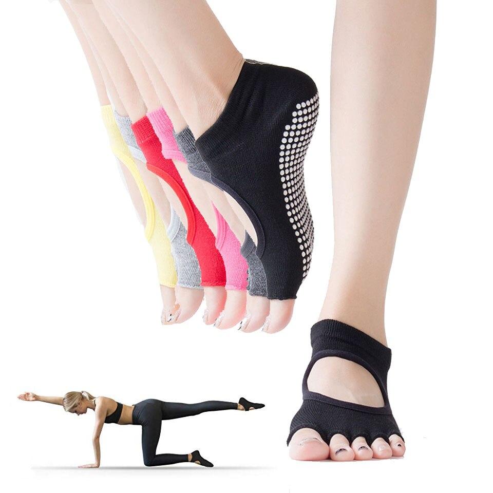 С открытым носком Нескользящие липкий сцепление Йога носки для Для женщин Нескользящие женские тренажерный зал Фитнес спортивные Пилатес ...