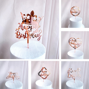 Ins New Happy Birthday Cake Topper Acrylic Letter Cupcake Topper For Kids Gilrs Birthday Party Cake Decorations Baby Shower
