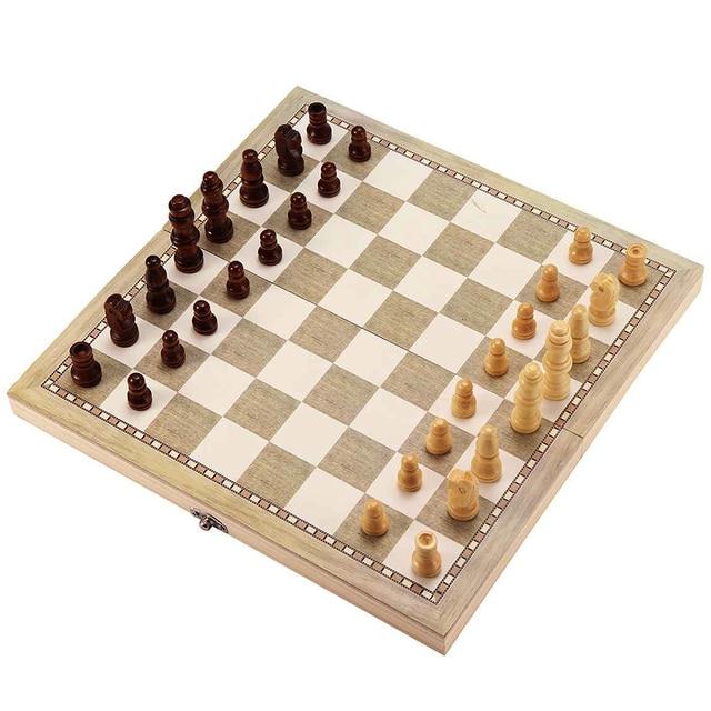Ensemble de planches d'échecs en bois 3-en-1 pliables couleur nankin 4