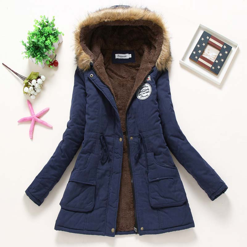 Smlinan Winter Jacket Women Fur Hooded Coat Female Plus Size Slim Cotton Liner Padded Jackets Outwear Black Long Parka Mujer