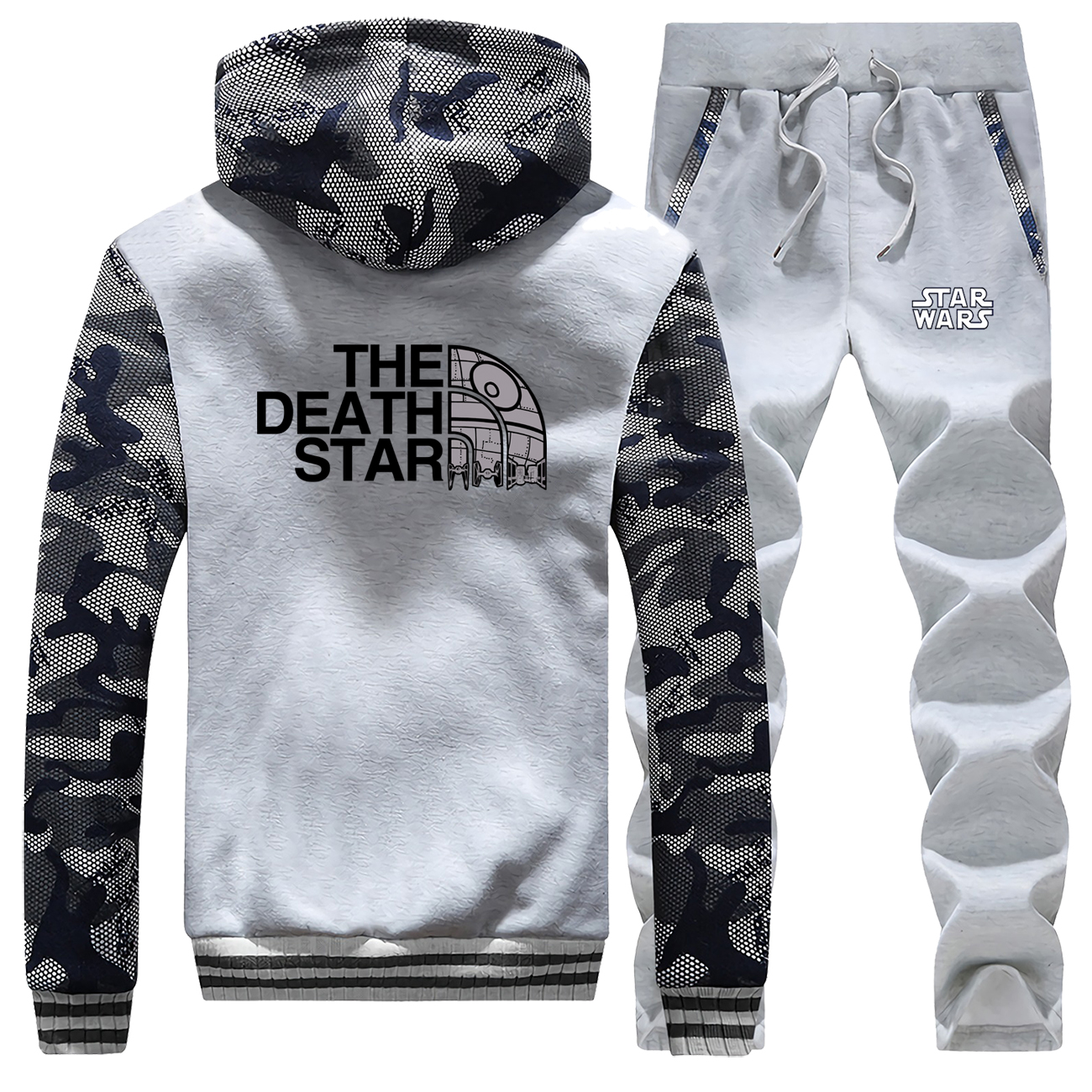 Star Wars The Station Face New 2019 Winter Warm Jacket Hoodies Mens Camouflage Streetwear Suit Coat Thick+Pants 2 Piece Set