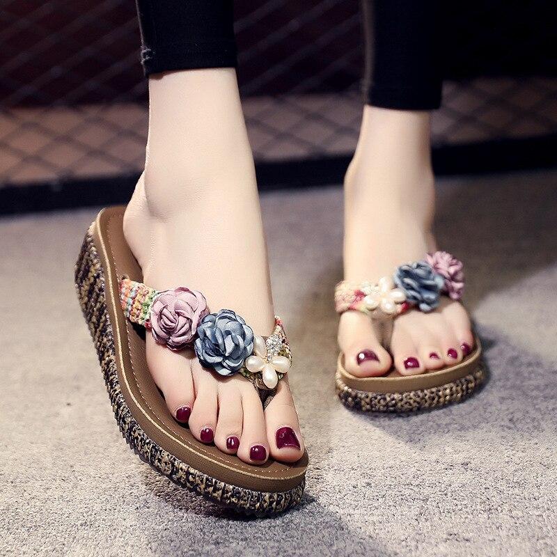 3cm High Heel Women  Summer Seaside Non-slip Wear-resistant Platform Sandals Wedge Heel High-heeled Fashion Flip-flops Shoes