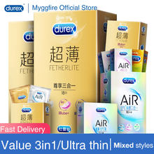Durex Ultra Thin Pleasure 3in1 Condoms Close Fit Ultra Sensitive Lubricated Natural Latex Rubber Penis Sleeves Adult Toys