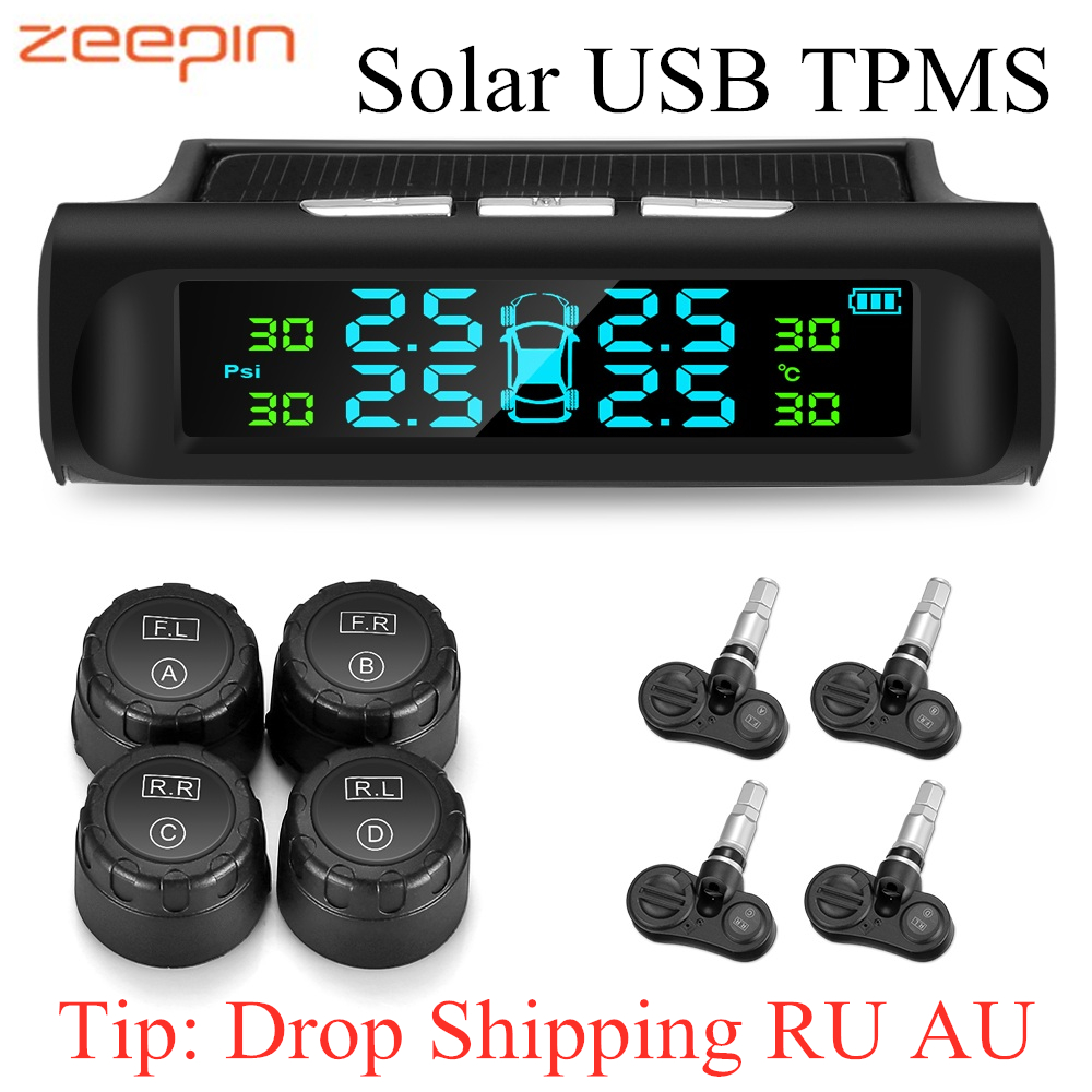 Zeepin C240 TPMS Solar USB Charging Car Tire Pressure Monitoring System LCD Display Alarm System 4 External Internal Sensors
