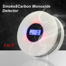 2 in 1 LCD Display Carbon Monoxide detector Smoke Combo Detector CO Alarm with LED Light Flashing Sound Warning for home safety(China)