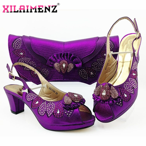 Image 3 - Latest Dark Green Color Matching Shoes and Bag Set for Italian Party Nigerian Ladies Mature Style with Crystal Shoes and Bag Set