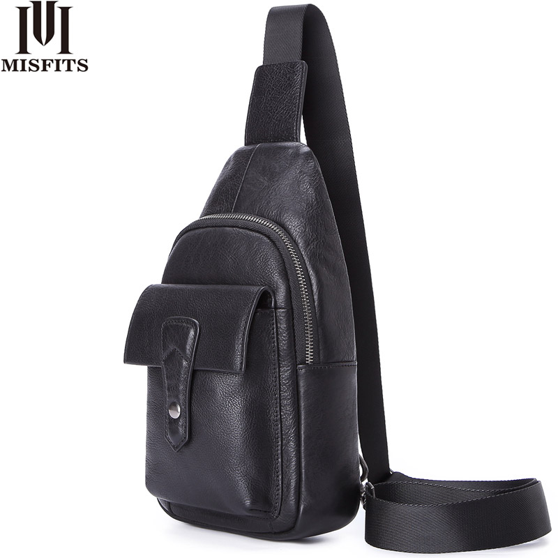 Image 1 - MISFITS genuine leather men crossbody bags casual chest bags 