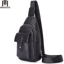 MISFITS genuine leather men crossbody bags casual chest bags travel vintage messenger bag man shoulder bag with zip phone packet