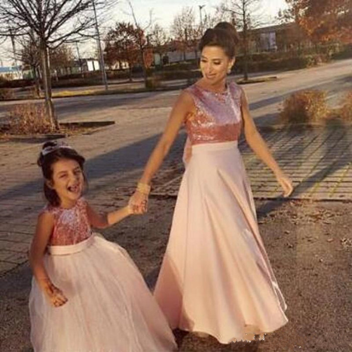 Sequined Top Chiffon Flower Girl Dress For Wedding With Bow V-back Kids Pageant Gowns Custom Made Girls Formal Wears Vestidos