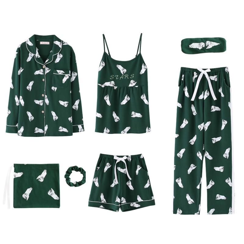 Image 4 - 2020 summer Cotton Pajamas for Women 7 Pieces Set cotton Sleepwear Home Clothes Female v neck Shorts Pants  sexi sleep wearPajama Sets   -