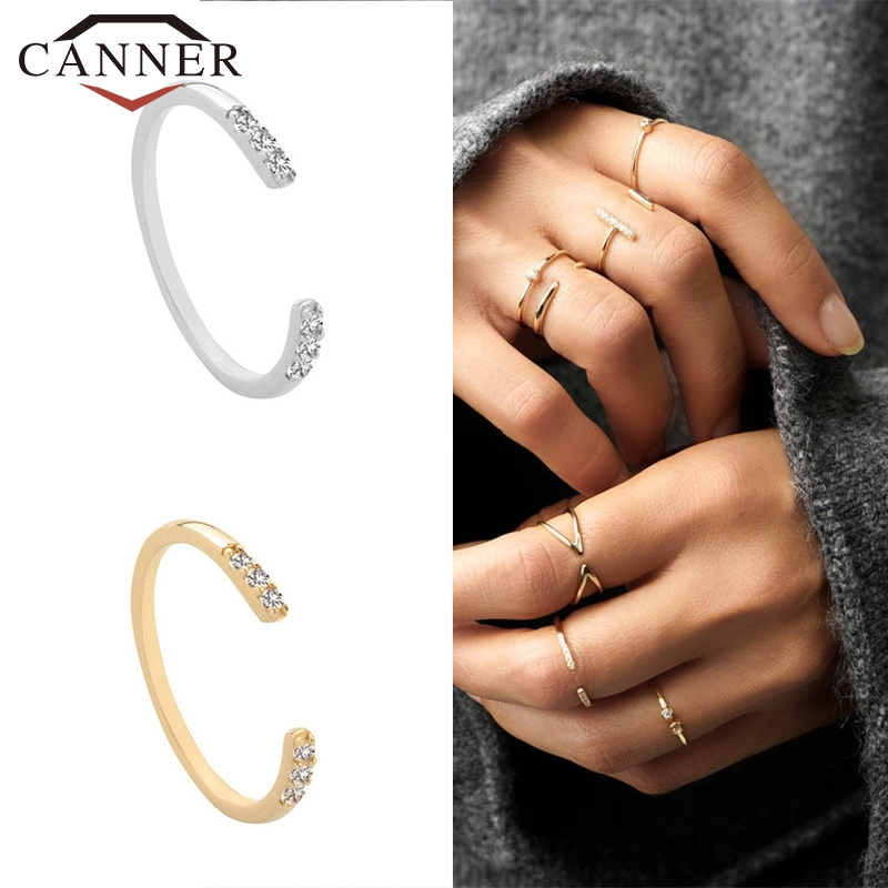 925 Sterling Silver Adjustable Rings for Women Crystal Zircon Female Finger Gold Silver Color Opening Rings Ladies Fine Jewelry