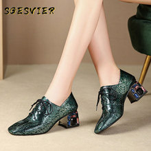 SGESVIER 2020 New Spring Summer Solid Rhinestone Decoration Party Single Shoes Woman Brand Square Toe High Heels Cross-tied Pump new arrival spring autumn plus size 11 12 fashion elegant mature womens shoes cross tied rough with low heels single shoes