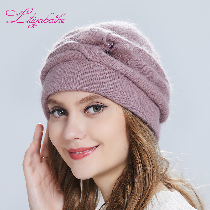 LILIYABAIHE  Women Winter Hat  Knitted Wool Angora Hat Mink Velvet Flower Decoration Cap Double Warm Hat