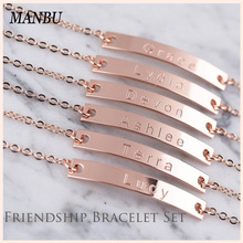 ManBu Authentic 925 Sterling Silver Personalized Customization Bracelet Friendship Custom Jewelry Best friend gift