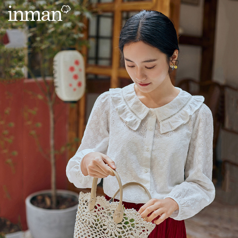 INMAN 2020 Spring New Arrival Literary Dimple Series Falbala Doll Collar Long Sleeve Blouse