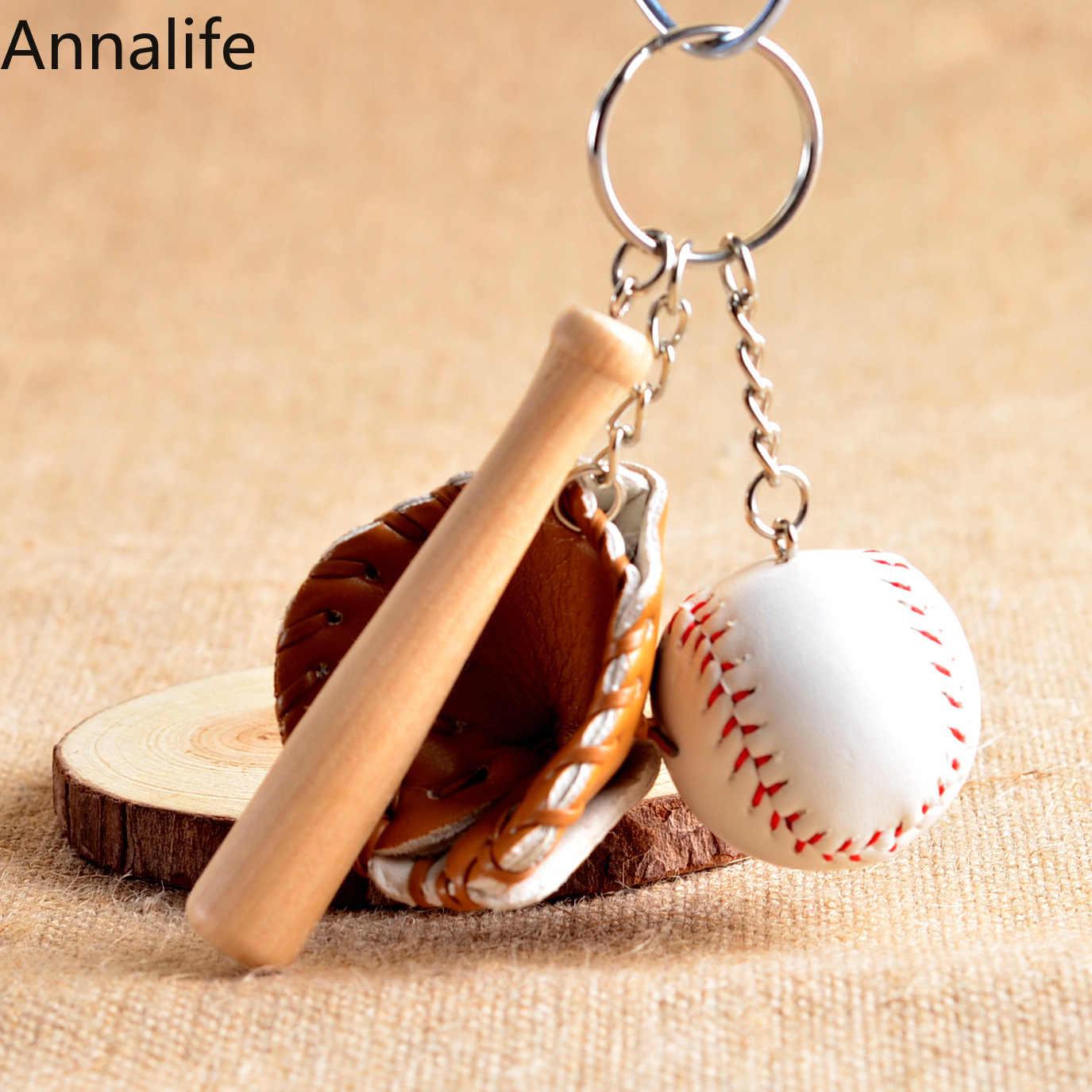 2019 Baru Mini Tiga Potong Baseball-Sarung Tangan Kayu Bat Gantungan Kunci Mobil Gantungan Kunci Gantungan Kunci Hadiah pria Wanita Grosir