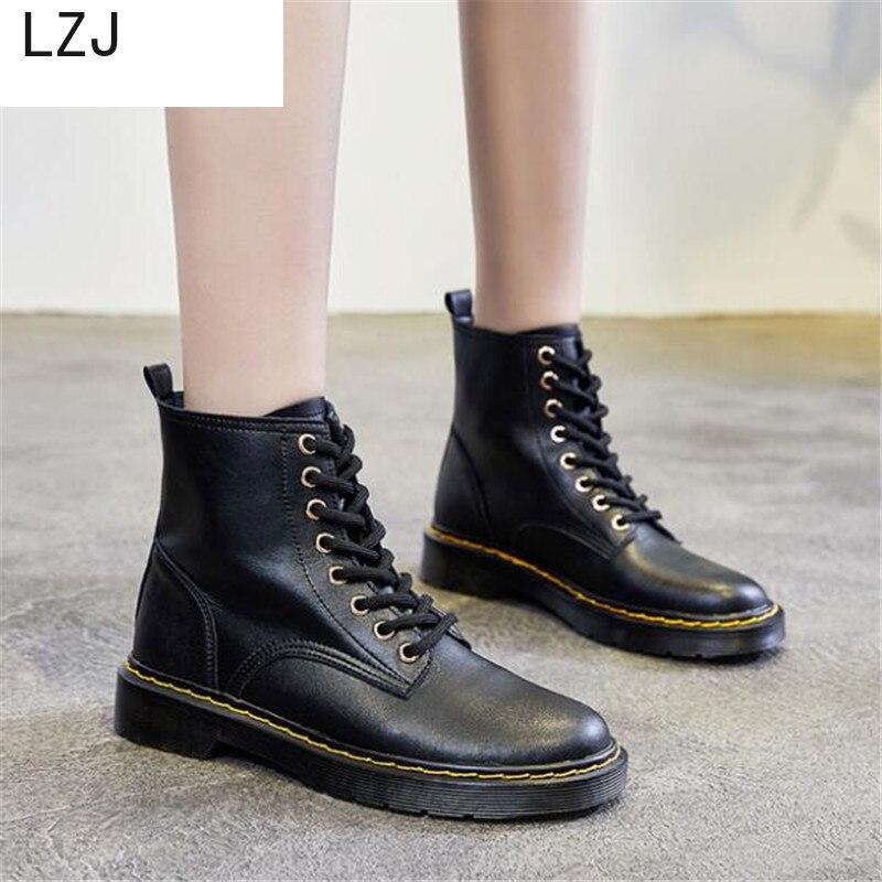 LZJ 2019 Women Autumn winter Ankle boots Martin boots new Korean short boots leather Women Thick bottom Booties Martin boots