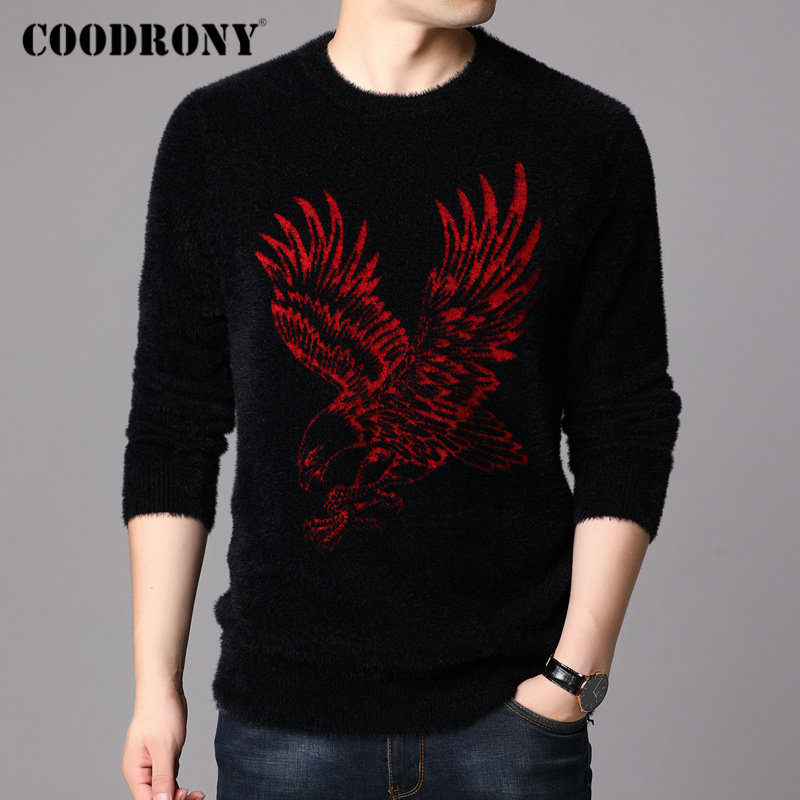 COODRONY Brand Winter Sweater Men Fashion Pattern O-Neck Pull Homme Thick Warm Cotton Fleece Pullover Men Jersey Hombre 91125