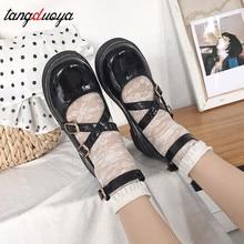 Japonés dulce lolita zapatos mujer tacones lindos zapatos coreanos harajuku vintage zapatos chica mujer tacones bajos bombas zapatos de sirvienta