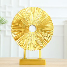 Golden Sun Flower Decoration Resin Round Ornaments Modern Home Decorations TV Cabinet Porch Living Room Craft Furnishings Gift