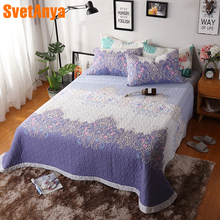 2018 Purple Bohemian Flowers Quilting Bedsheet Print Cotton Stitching Bedlinens Coverlet 3pcs Bedspread Set Pillowcases