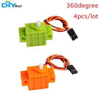 4 unids/lote 9g Servo Geek Servo 360 grados de rotación para el Micro poco Lego Robot coche inteligente verde DIY naranja para Geekservo