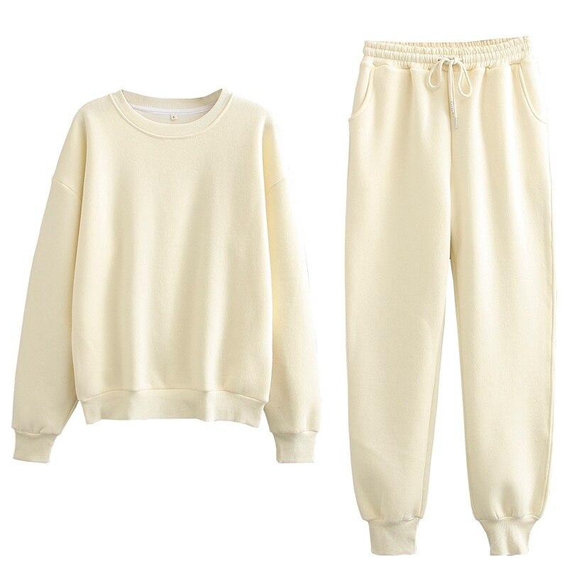 Tangada 2020 Autumn Winter Women warm yellow fleece 100% cotton suit 2 pieces sets o neck hoodies sweatshirt pants suits 6L24 12