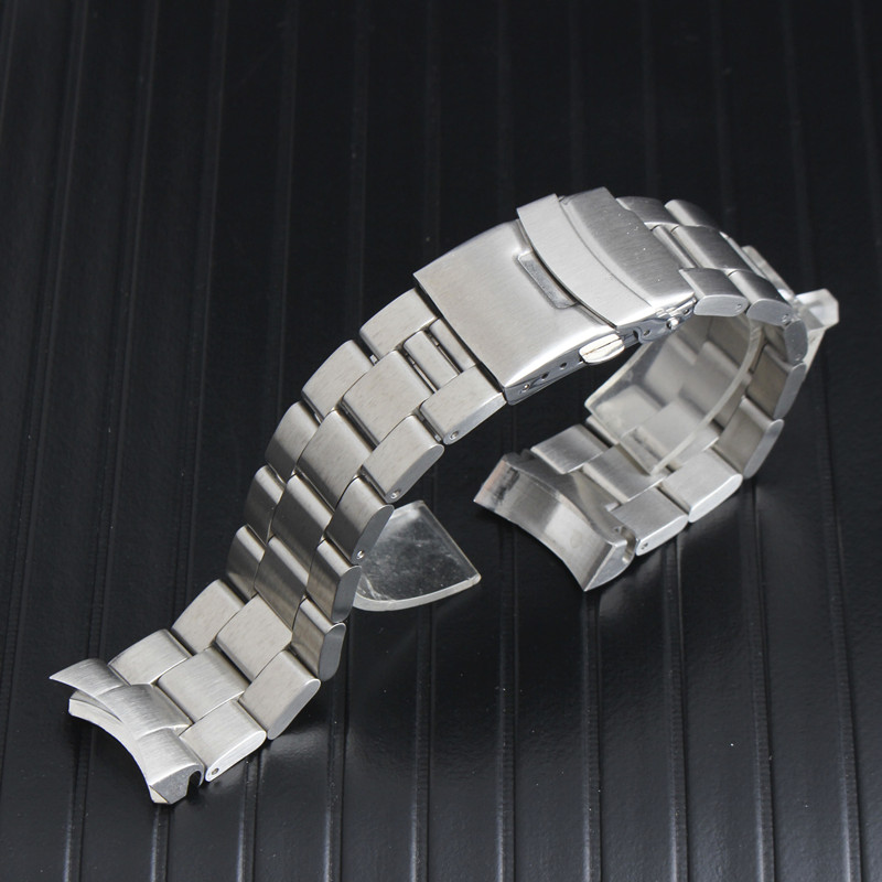 22mm Silver Solid Curved End Solid Links Replacement Watch Band Strap Bracelet Double Push Clasp  Fit For SKX007