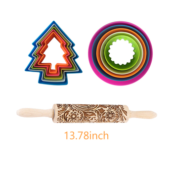 3D Wooden Embossed Christmas Rolling Pin Set With Xmas Cookie Cutter Decorative Rolling Pins Christmas Cookie/Dough Roller   145 - China, G 13.78inch 11pcs