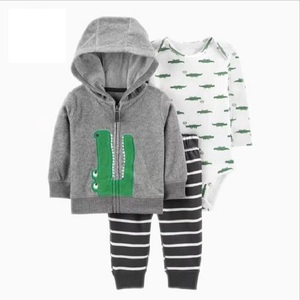 Image 1 - 2020 autumn newborn baby clothes cotton sports style jacket+romper+pants 3 pcs clothing set for 6 24M baby girls outfit set