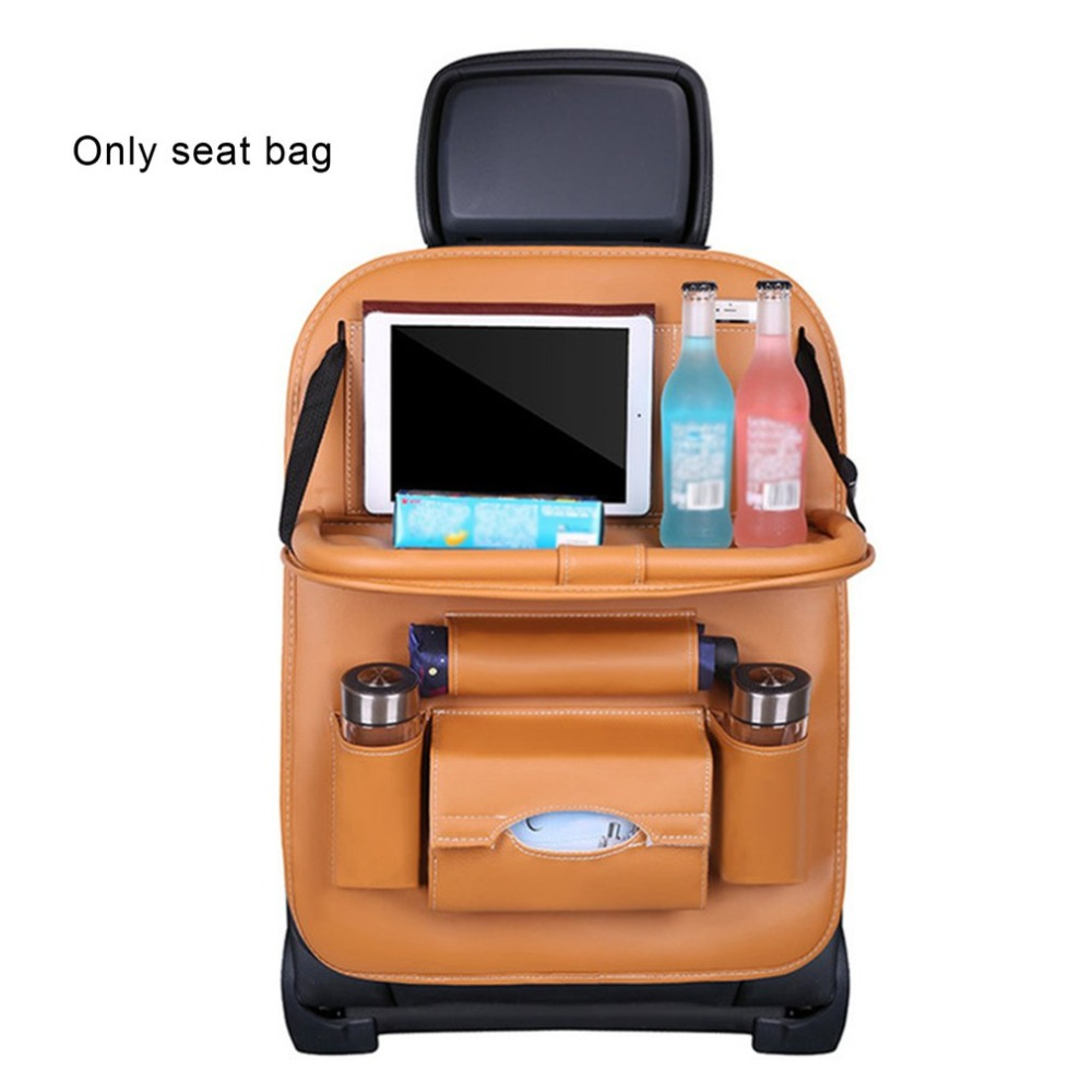 PU Leather Car Seat Back Organiser with Foldable Tray 9