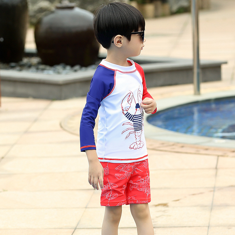 Cartoon Boy KID'S Swimwear Large Children Split Type Long Sleeve Sun-resistant Quick-Dry AussieBum Swimwear Three-piece Set