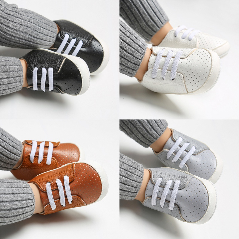 2019 Baby Moccasins Pu Leather Baby Boys First Walker Shoes Breathable Anti-Slip Sneakers Soft Soled Newborn Shoes 0-18M