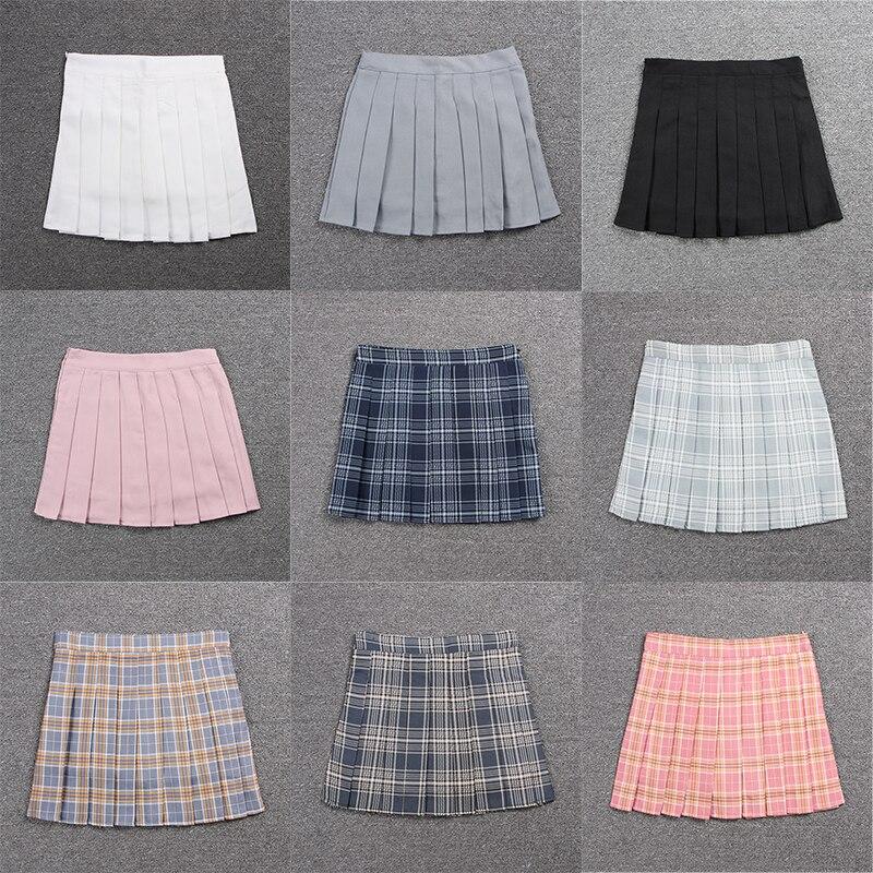 School Dresses For Girl Sailor Suit Plaid Pleated Skirt Jk Uniform Cosplay Japanese Anime Middle School Costume Mini Short Skirt