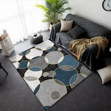 Modern minimalist fashion Black blue white gray carpet circle Bedroom foyer kitchen floor mat non-slip plush rug custom made