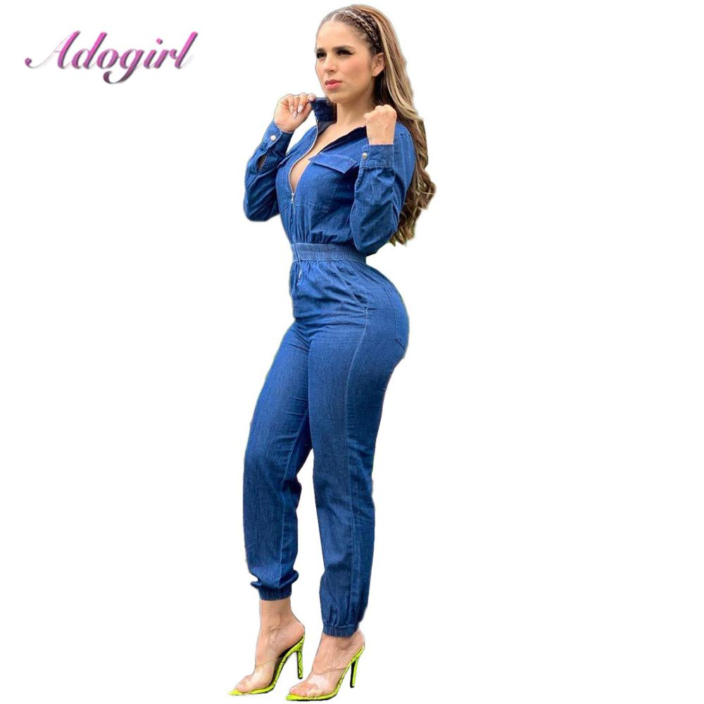 Adogirl Spring Women Long Sleeve Jeans Denim Jumpsuit Casual Zipper Up Deep V Neck Jeans Rompers Sexy Streetwear Outfit Overalls